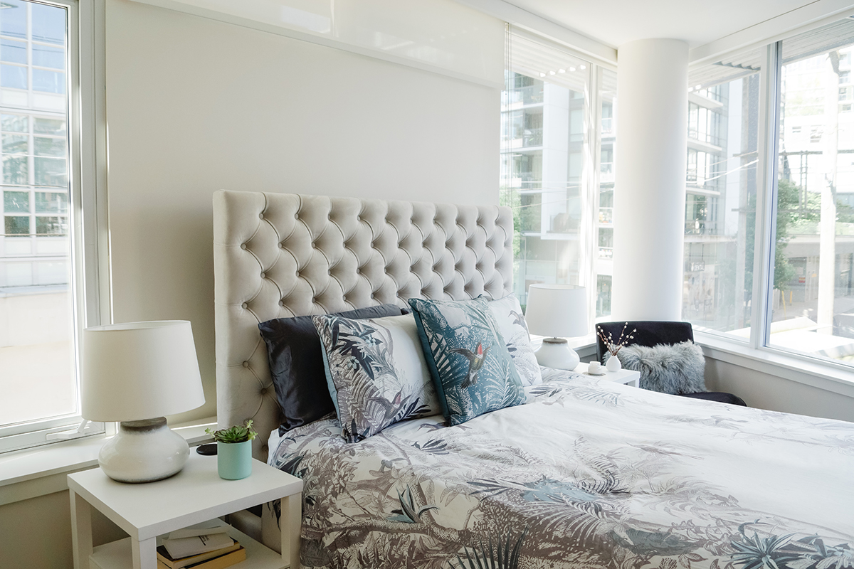Beautifully staged bedroom.